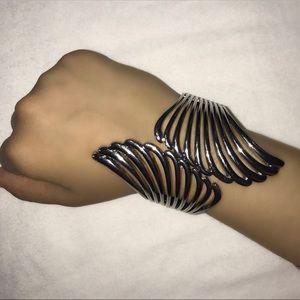 Silver Greek Inspired Wings Clasp Snap Bracelet